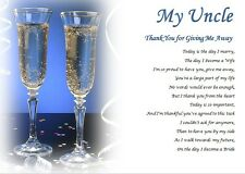 MY UNCLE Thank you for GIVING ME AWAY- personalised wedding poem