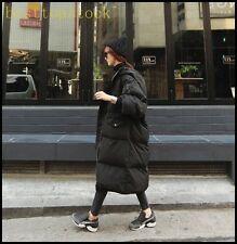Ladies Long Cotton Down Coat Winter Parka Hood Loose Fit Overcoats Plus Sizes