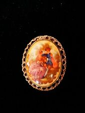 Vintage Bone China Hand Painted Gold Tone Courting Couple Oval Brooch/Pendant