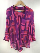 Alice + Olivia Women's Button Down Abstract Multicolor Tie-neck Blouse Size M