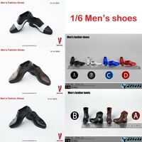 1/6 Scale Man's Fashion Shoes Leather Shoes Boots For 12'' Hot Toys Figure Body