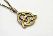 Women Vintage Celtic Pendant Triquetra Trinity Knot in Bronze Band Necklace