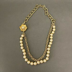 Vintage Necklace Fashion Jewelry Faux Ivory Pearl Gold-tone Flower Chain