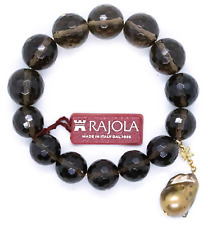 RAJOLA ITALY 18 KT GOLDEN BAROQUE PEARL AND SMOKEY TOPAZ BRACELET GREAT DESIGN!!