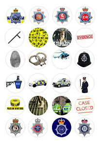 24 edible British police Iced Icing Fondant 4cm Cupcake Toppers Cake