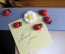 Carino LADYBIRDS & Daisy FRIGO, memo, DECOR magnets.set di 6. un po' IDEA REGALO.