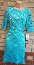 JAX GREEN FLORAL CROCHET LACE SHORT SLEEVE SHIFT BODYCON PARTY COCKTAIL DRESS 16