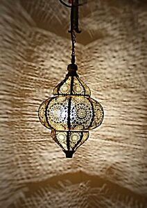 Hanging ceiling Moroccan Metal Wedding Party Pendant Lamp (Gold and Yellow) 12""