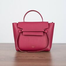 CELINE 2300$ Micro Belt Bag In Raspberry Grained Calfskin