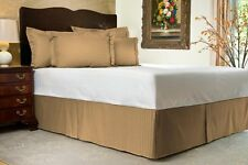 """Brown Sateen Stripe Tailored Bed Skirt with 14"""" Drop, Full Camel"""