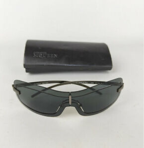 Authentic Alexander McQueen Grey Metal Framed Visor Sunglasses