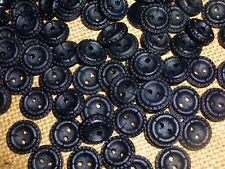 50 x Black Satin Finish Fancy Edge 13mm 2 Hole Good Quality Buttons ( BB/38 )