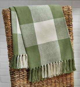"NEW SAGE GREEN THROW WICKLOW Blanket White Park Designs 60""x50"" Cotton Fringed"