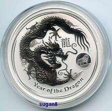 2012 Australian Lunar Dragon 1oz pure Silver Bullion Coin with Lion Privy mark
