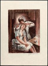 Farbige Lithographie von JOSEF HODEK (Pilsen) 1929 | Beim Friseur | Hairdresser