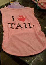NEW I Heart Tail  Pet Dog Cat Tshirt Clothes M Medium Pink Free Shipping USA