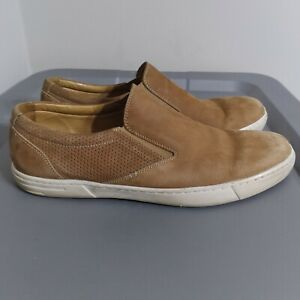 Peter Millar Men's Size 8.5M Shoes Tan/White Slip On Sea Horse Suede Loafers