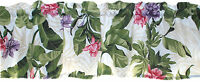 New TROPICAL pink purple orchids FLORAL on WHITE green leaves CUSTOM valance