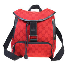 Authentic GUCCI GG Pattern Backpack Bag Canvas Nylon Leather Red Italy 84MB930
