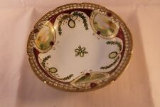 VINTAGE & RARE NORITAKE HAND PAINTED FOOTED BOWL LANDSCAPES GOLD GILDING 1908'c
