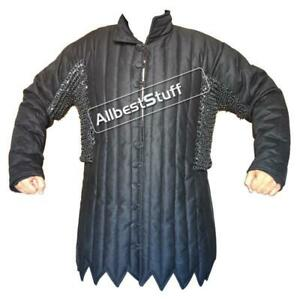 Padded Cotton Gambeson with Round Riveted Chain Maille Voiders Stitched ABS