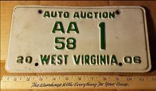 West Virginia AUTO AUCTION AA 58 1 LICENSE PLATE  Rare Decor