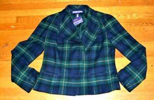 New NWT Ralph Lauren Purple Label Collection Plaid Wool Cashmere Jacket Coat 14