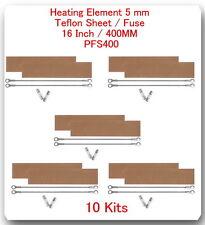 """10 Heating Elements 5mm + 10 Teflon Sheet  For Impulse Sealer 16"""" / 400mm PFS400"""