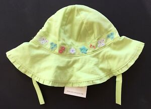 NWT Janie and Jack Cabana Paradise 6-12 Months Green Embroidered Hat w/ Straps