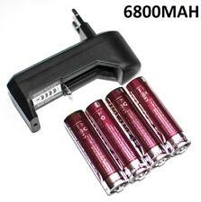 4X PILA RECARGABLE 6800MAH 18650 + CARGADOR DE PILAS CR123 CARGAR PILAS