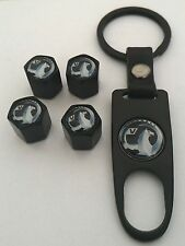 VAUXHALL Wheel Valve Dust caps Spanner/Keychain  Boxed Black ALL MODELS Astra