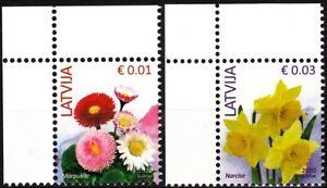 "LATVIA 2020-12 Definitive: FLORA Flowers. 0.01 0.03 Reprints ""2020"". CORNER, MNH"
