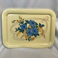 Set Of 4 Vintage Metal Blue & Yellow Flower with Ribbon Lap TV Trays