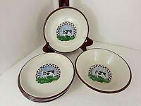 Century Stoneware Fannie's Farm 4 Salad Plates & Pasta Bowl