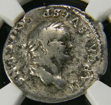 Roman Silver Denarius coin AD 69-79 Vespasian Maxim Pontif NGC F