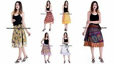 5 Pcs Multi Colors Wrap Around Skirt Printed designs - Art Silk Vintage Indian