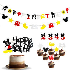 Birthday Cake Topper Bunting Party Banner Cupcake Pick Decoration Mickey Mouse