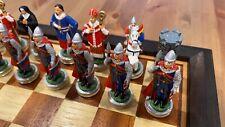 Scacchiera e scacchi da collezione pezzi in metallo dipinti a mano