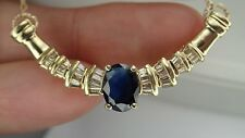 Sapphire Necklace 1/2 Carat of Diamonds 14K Fine Jewelry Authentic Gemstone
