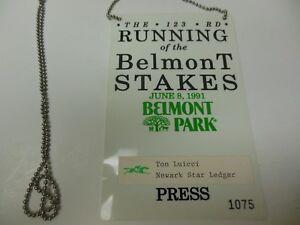 1991 BELMONT STAKES HORSERACING CHAMPIONSHIPS RARE PRESS PASS HANSEL WINS!