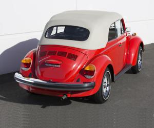 VW Volkswagen Beetle 1973-1979 Convertible Soft Top White Haartz Pinpoint Vinyl