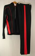 BOLLE SPORT Women's Athletic Wear Black Red Track Sweat Suit L Train Run Yoga