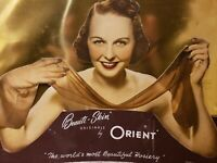 "Rare 1930's ""Beauti-Skin Hosiery by Orient"" Large Store Display Advertising Sign"