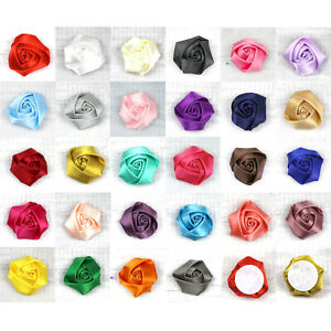 "1.5"" 10Pcs Rose Satin Ribbon Flower Bulk Appliques Wedding DIY Craft Supplies"
