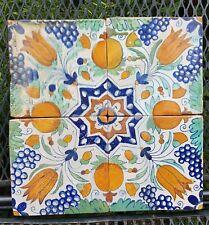 4 antique Dutch Delft Polychrome Star Tiles Pomegranate Grapes Tulips 17th C.