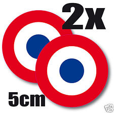 2 X Sticker autocollant * FRANCE Armée de l'air Cocarde tricolore  5cm