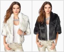 JUICY COUTURE WHITE FAUX FOX FUR CAPE BOLERO SHRUG ORG. $248.00 SIZE M/L BNWT