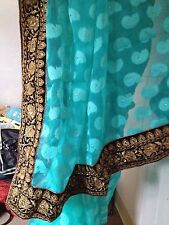 Indian pakistani bollywood designer partywear saree-velvet border-heavy work
