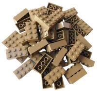 Lego 50 Stück Steine in dunkelbeige (dark tan) Stein 2x4 sandfarben (3001) Neu
