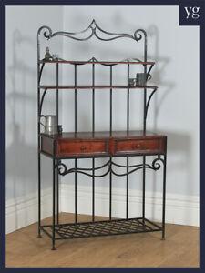 Vintage Indian Teak & Metal Kitchen Hallway Hall Stand Two Drawer Sideboard Rack
